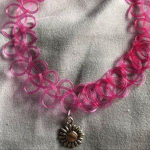 Jewelry - Pink daisy tattoo choker necklace